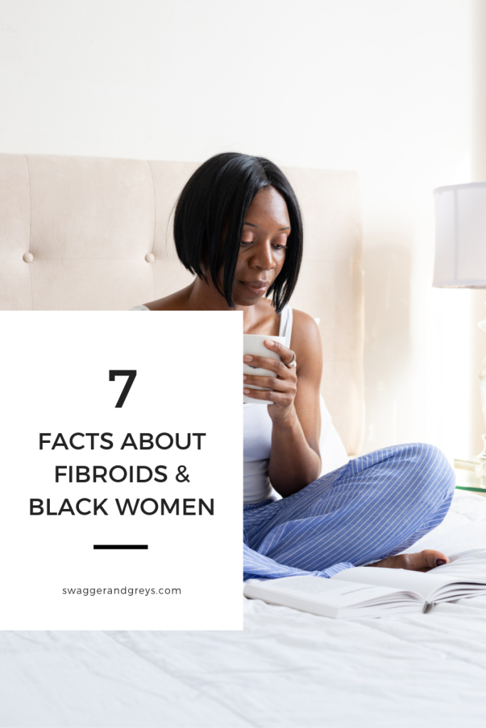 photos of african-american woman sitting on bed with up of coffee. Caption reads, 7 Facts About Fibroids and Black Women