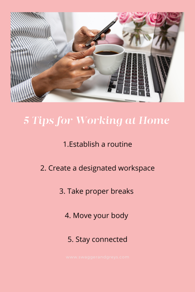 Numbered List of five tips for working from home set against a pink background