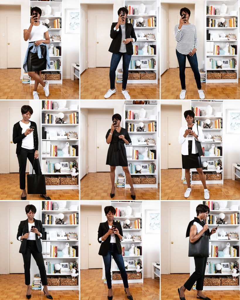 collage of a black woman wearing nine different casual outfits