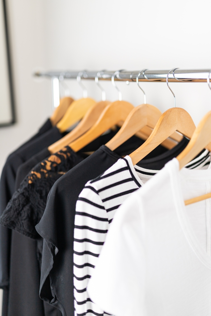 clothing on a clothing rack